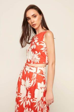 Tropical Print Sleeveless Blouse
