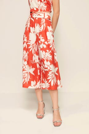 Tropical Print Belted Culottes