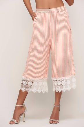 Striped Lace Trim Culottes