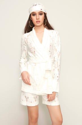 Lace Tie Waist Blazer