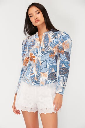 Tropical Puff Sleeve Blouse