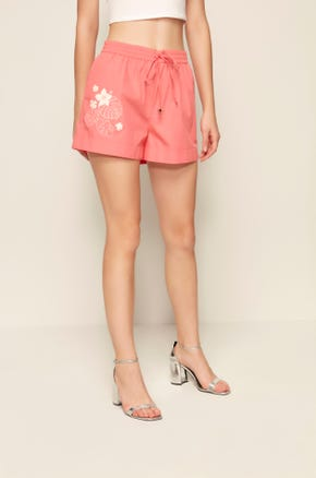 Pink Hibiscus Shorts