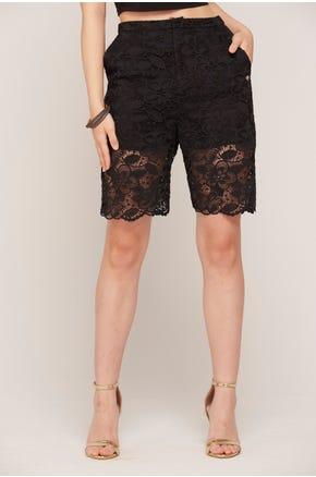 Black Lace Bermuda Shorts