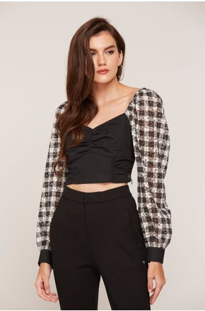 Checkered Sleeve Crop Blouse