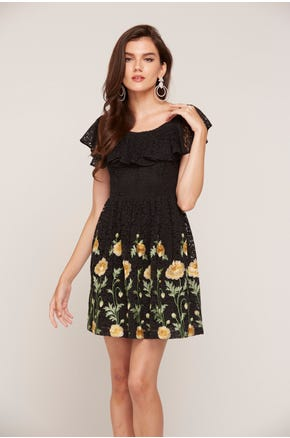 Embroidered Lace Mini Dress
