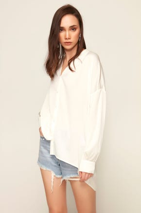 Drop Shoulder Button Up Shirt
