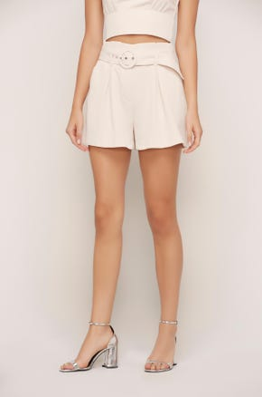 Belted White Paperbag Shorts