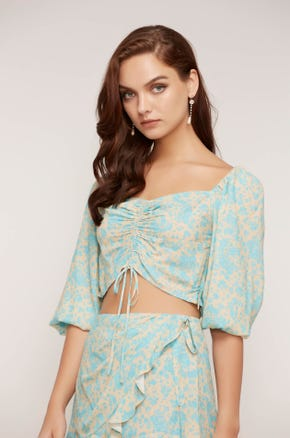 Floral Drawstring Puff Sleeve Top