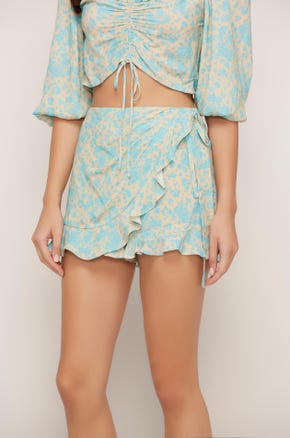 Floral Wrap Front Shorts