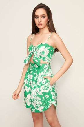 Green Floral Knot Top