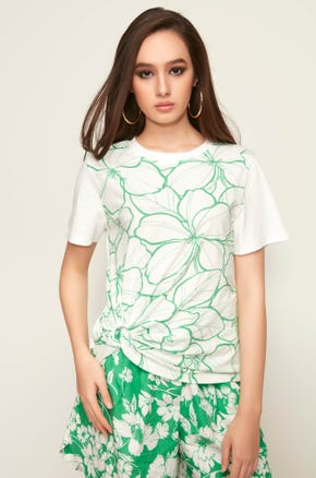 Green Floral Keyhole Tee
