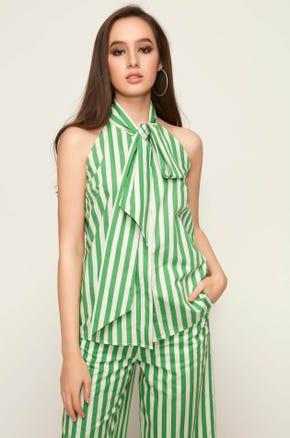 Green Striped Neck Tie Blouse