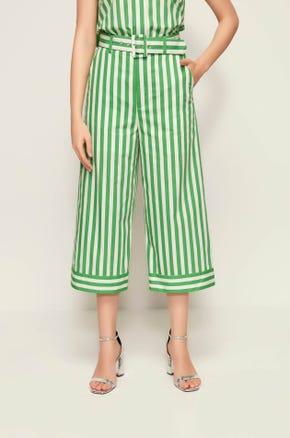 Green Striped Culottes