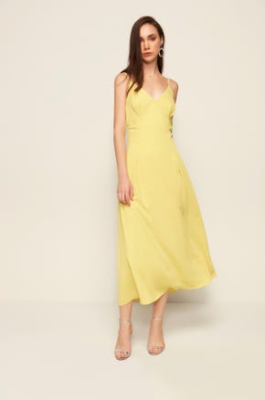 Yellow Pleated Midi Dress