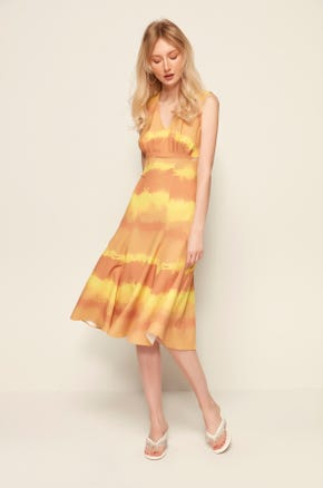 Sleeveless Tie Dye Midi Dress