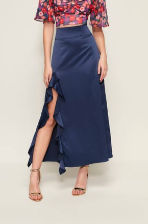 Silky Ruffle Midi Skirt