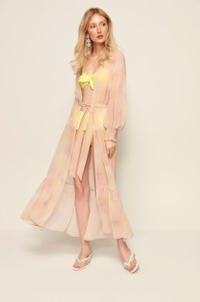 Sheer Long Sleeve Beach Cover Up