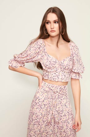 Cropped Pink Floral Blouse