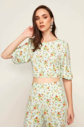 Green Floral Puff Sleeve Blouse