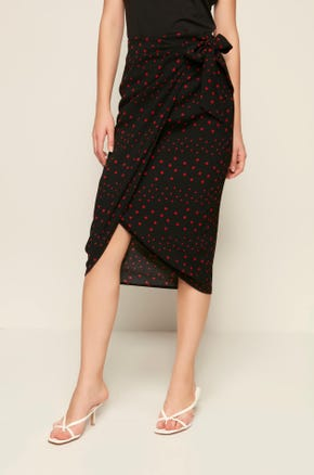 Dotted Midi Wrap Skirt