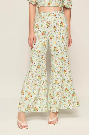 Green Floral Flare Pants