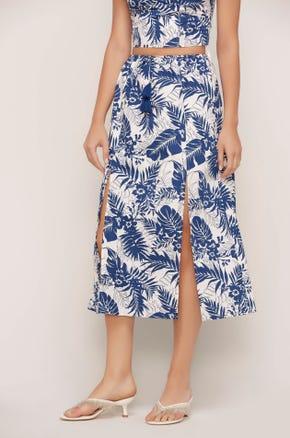 Tropical Split Front Midi Skirt