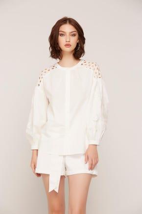 White Lace Detail Blouse