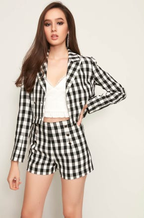 Cropped Double Breasted Gingham Blazer