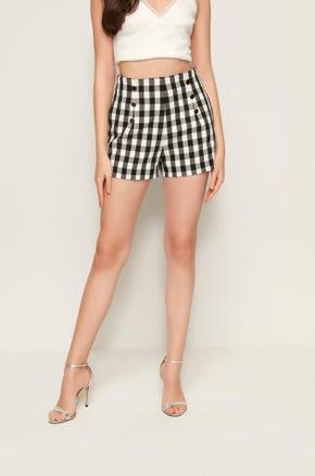 Gingham High Waist Shorts