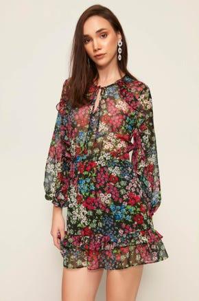 Sheer Floral Mini Dress