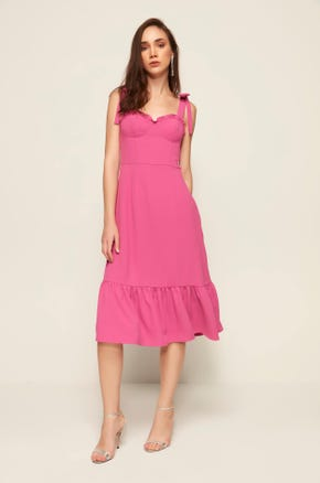 Pink Ruffle Midi Dress