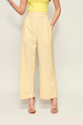 Wide Leg Gingham Pants