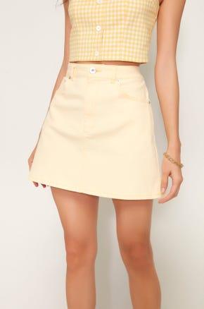 Yellow Denim Mini Skirt