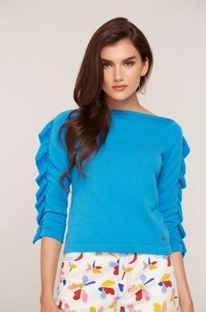 Blue Ruffle Sleeve Top