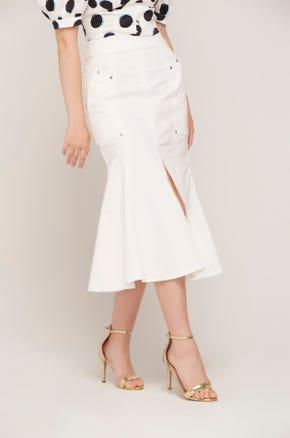 White Mermaid Midi Skirt