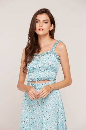 Blue Floral Ruffle Top