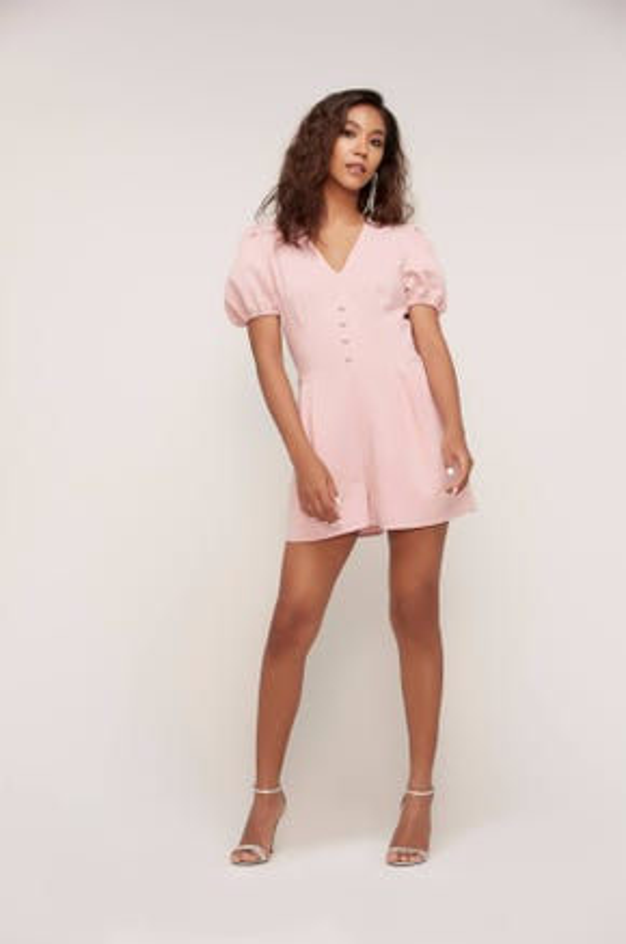 Pink Puff Sleeve Romper
