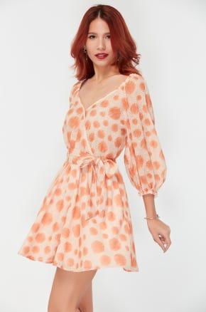 Orange Dot Mini Dress