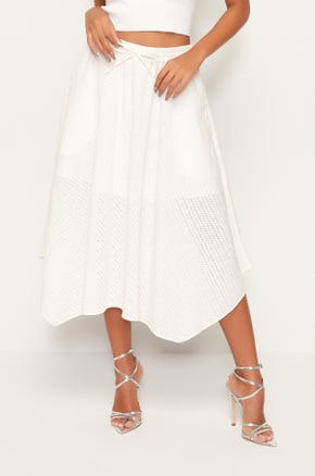 Mesh Drawstring Midi Skirt