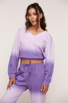 Purple Ombre Crop Sweatshirt
