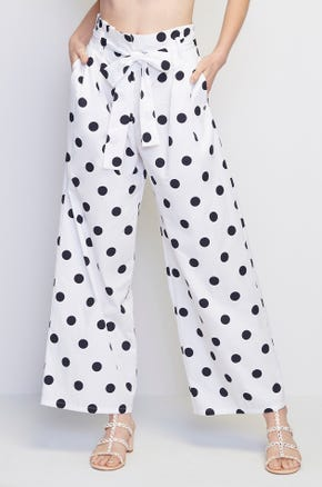 Printed Tie Front Pants