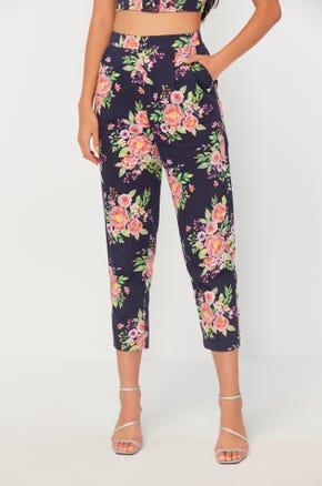 Cropped Floral Print Pants