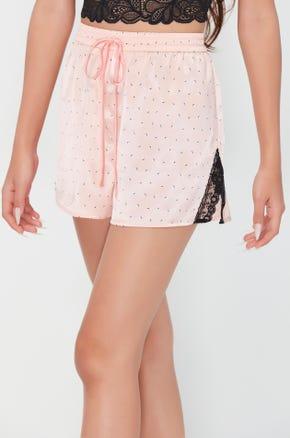Lace Trim Drawstring Shorts