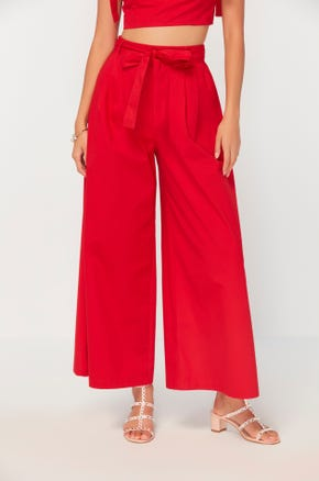 Red Tie Front Pants