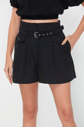 Belted Pleat Front Shorts