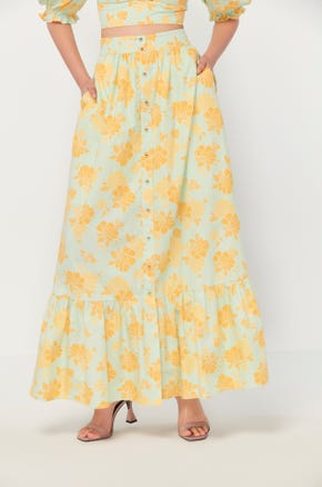 Button Front Floral Skirt