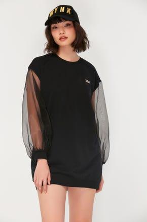 Sheer Sleeve Sweatshirt Dress