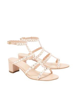 Crystal Mid Heel Sandals